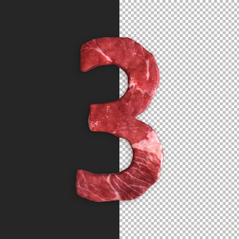 Alfabeto de carne em fundo preto, número 3