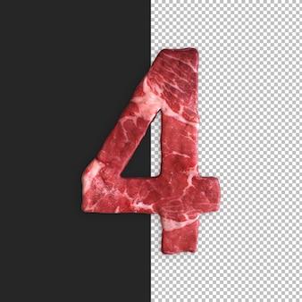 Alfabeto de carne em fundo preto, número 4