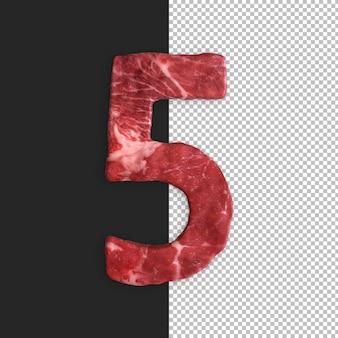Alfabeto de carne em fundo preto, número 5