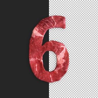 Alfabeto de carne em fundo preto, número 6