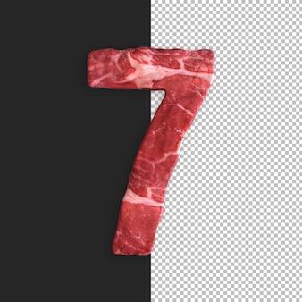 Alfabeto de carne em fundo preto, número 7