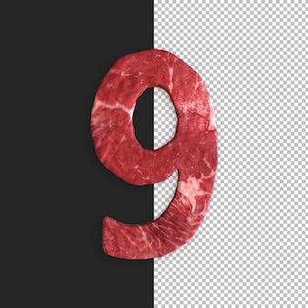 Alfabeto de carne em fundo preto, número 9