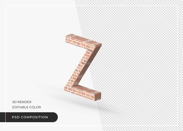 Alfabeto de efeito de tijolo isolado renderização em 3d