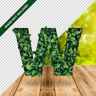 Alfabeto de efeito folha 3d com fundo transparente