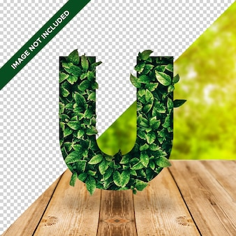 Alfabeto de efeito folha 3d u com fundo transparente