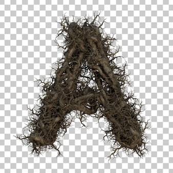 Alfabeto de galho de árvore de renderização 3d a