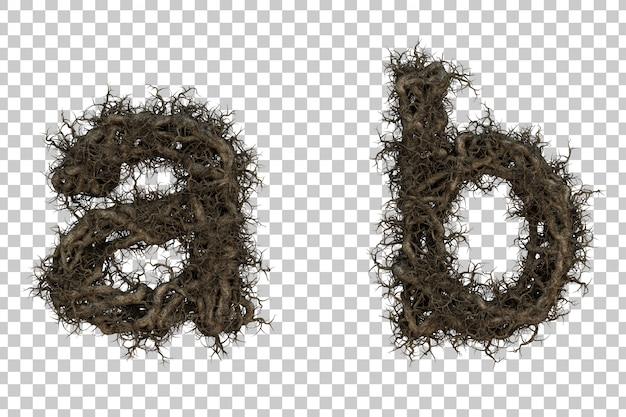 Alfabeto de galho de árvore de renderização 3d ae alfabeto b