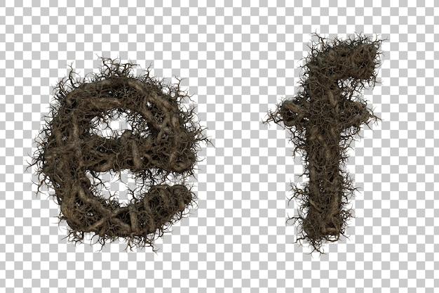 Alfabeto de galho de árvore de renderização 3d eef alfabeto