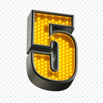 Alfabeto de néon brilhante número 5 com luz fluorescente amarela isolada Psd Premium
