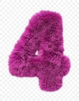Alfabeto de pele rosa peludo número 4 isolado