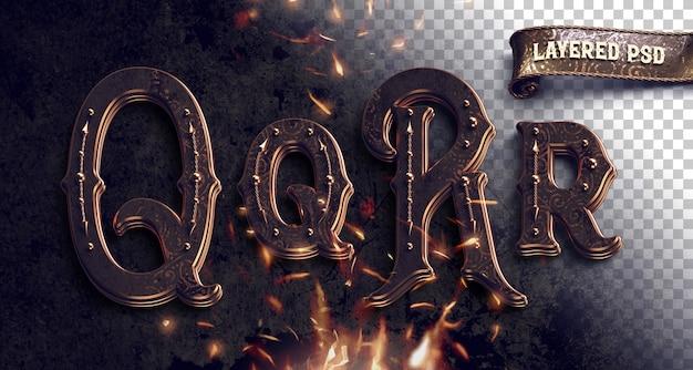 Alfabeto metálico vintage com fogo