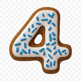 Alfabeto número 4 feito de biscoito de gengibre colorido isolado