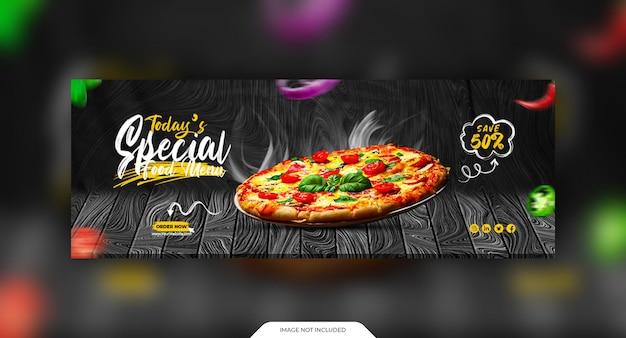 Alimento e oferta promoção modelo de capa de mídia social
