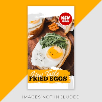 Alimentos instagram flyer stories template restaurant
