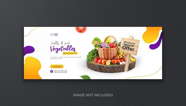Alimentos orgânicos saudáveis, vegetais, frutas e mercearia mídia social capa fresca do facebook e banner da web