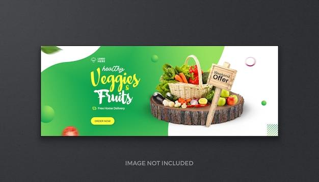 Alimentos orgânicos saudáveis, vegetais, frutas e mercearias, mídia social fresca, capa do facebook e banner da web
