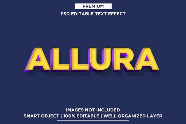 Allura - modelo de efeito de fonte de estilo de texto 3d psd