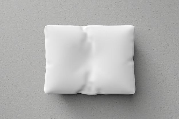 Almofada branca ou fronha no fundo do chão com o modelo em branco. maquete de travesseiro para o projeto. renderização em 3d.