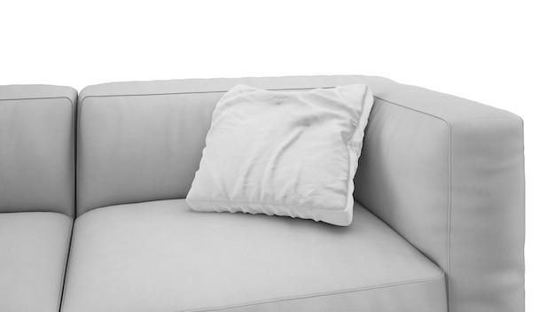 Almofada no sofá cinza isolado