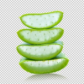 Aloe vera fatiado na transparência isolada .herb