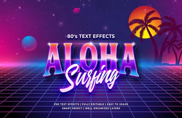 Aloha surfando o efeito de texto retrô dos anos 80