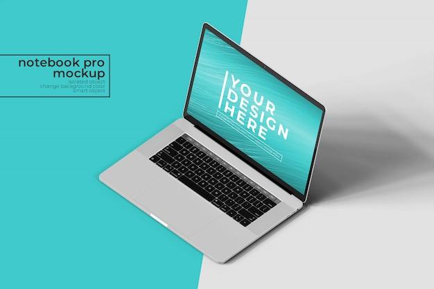 Alta qualidade premium 15 polegada notebook notebook pro para web e aplicativos photoshop mock up em isometric front front view