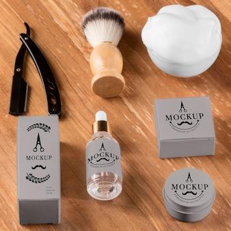 Alto ângulo de escova e soro de produtos de barbearia