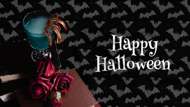 Alto ângulo do conceito de halloween