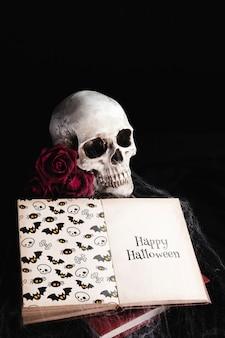 Alto ângulo do crânio e livro com teia de aranha