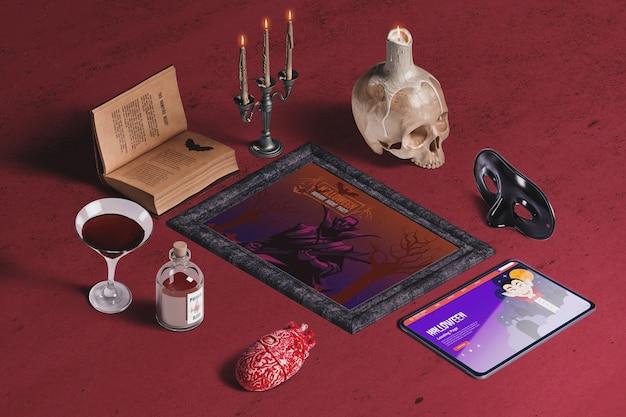 Alto ângulo do criador de cena de elementos de halloween