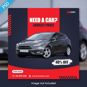 Alugue carro para mídia social instagram post banner template premium