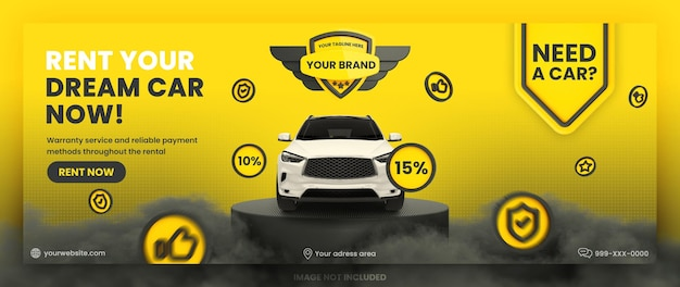 Aluguel de automóveis mídia social capa do facebook banner template premium psd