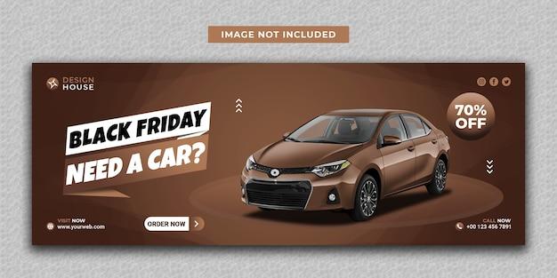 Aluguel de carro moderno preto na mídia social e modelo de capa do facebook