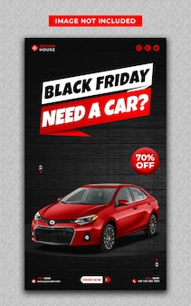 Aluguel de carro preto na cor vermelha nas redes sociais e modelo de histórias do instagram