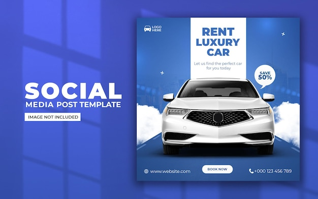 Aluguel de veículos de luxo nas redes sociais e modelo de postagem no instagram