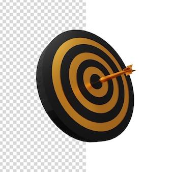 Alvo de dardos preto e dourado com ilustração 3d de dardo dourado.