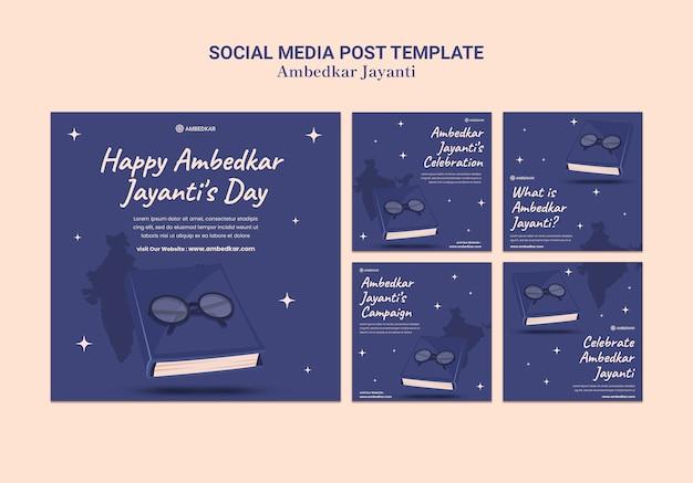 Ambedkar jayanti instagram posts templates
