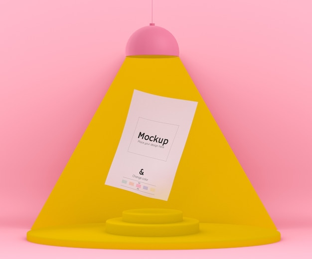 Ambiente 3d rosa e amarelo com uma lâmpada iluminando uma folha de papel maquete dobrada