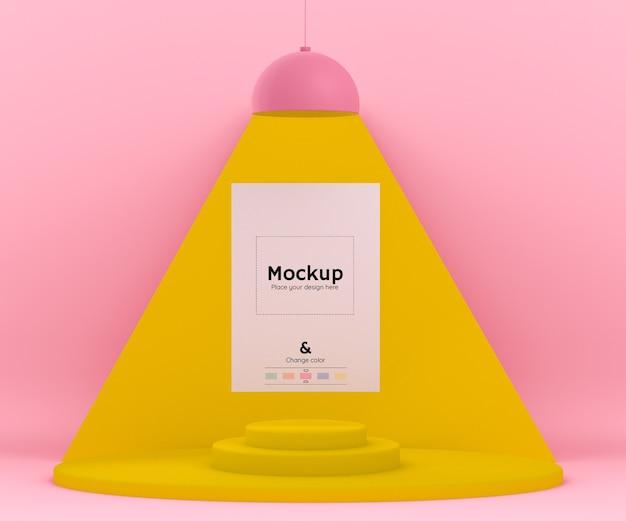 Ambiente 3d rosa e amarelo com uma lâmpada iluminando uma folha de papel maquete e cores editáveis Psd grátis