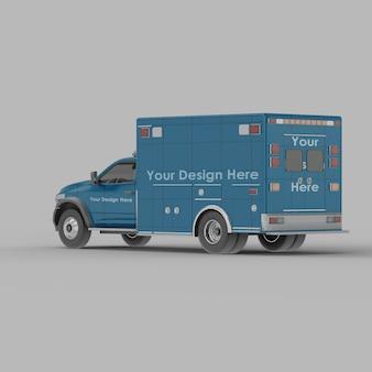 Ambulância traseira meia vista lateral maquete isolada