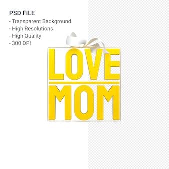 Ame a mãe com arco e fita renderização 3d isolada