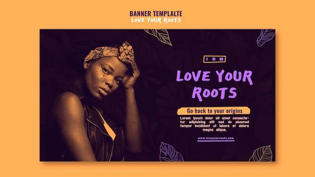 Ame seu modelo de banner de raízes