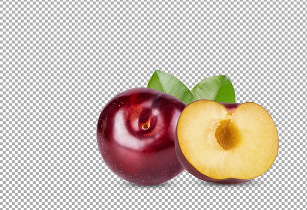 Ameixa cereja vermelha com folha