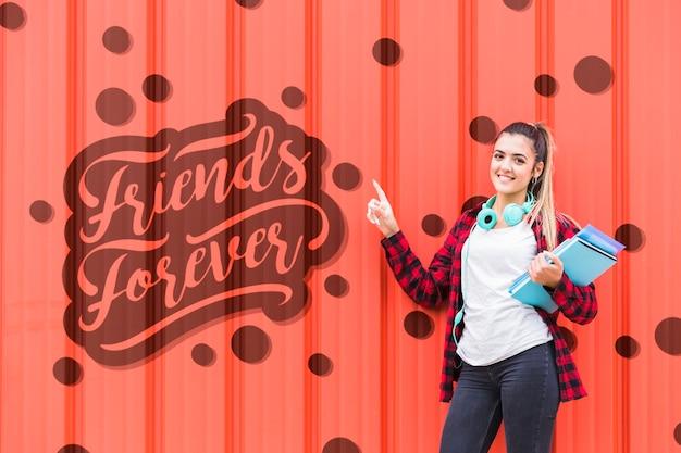 Amigos para sempre mensagem na parede da escola