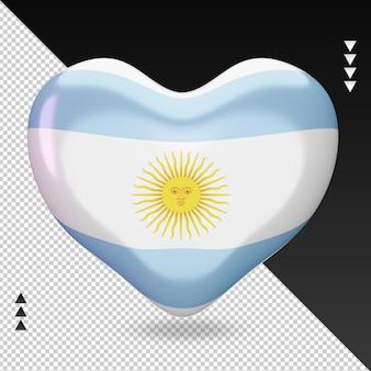 Amo a argentina bandeira coração renderização 3d vista frontal