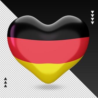 Amo a bandeira da alemanha, coração, renderização em 3d, vista frontal