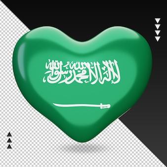 Amo a bandeira da arábia saudita, coração, renderização em 3d, vista frontal