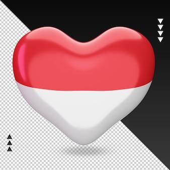 Amo a bandeira da indonésia, coração, renderização em 3d, vista frontal
