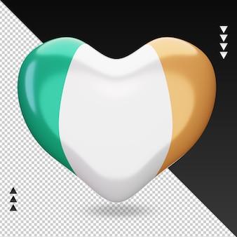 Amo a bandeira da irlanda, coração, renderização em 3d, vista frontal
