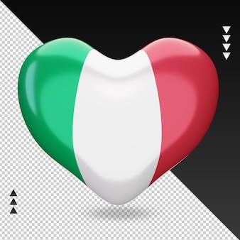 Amo a bandeira da itália, coração, renderização em 3d, vista frontal